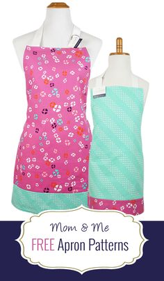 Free apron patterns for kids and adults at Two More Minutes.  These are great beginner or quick sewing projects!