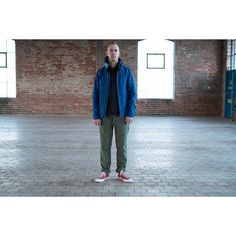 #TENC Overseas Blue 3L Anorak, #EngineeredGarments #Workaday Navy NyCo Ripstop Utility Jacket, #orSlow Slim Fit Green US Army Fatigue Pant, #Converse Crimson Chuck Taylor All Star 70s.