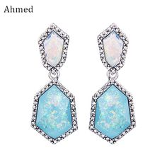 Ahmed Charm Crushed Gold Texture Synthetic Stone Pendant Earrings For Women New Fashion Jewelry Rhinestone Drop Earring  #Affiliate