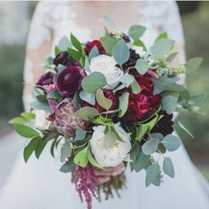 Burgundy, green, and ivory bouquet by Flowers by Lesley
