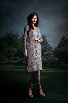 0a8193e5acf Grey heavily embellished Pakistani embroidery dress by Ammara Khan