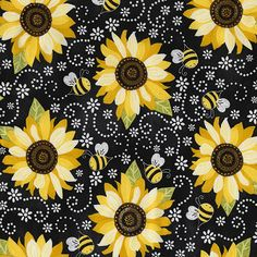 QUILTING TREASURES TOUCHED BY AN ANGEL SUNFLOWERS ON RED COTTON FABRIC BTY