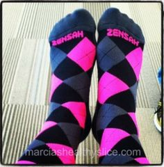 'Zensah Compression Socks. They're supportive, comfy and come in a whole rainbow of great colors. Graduated compression increases oxygenated blood flow and decreases recovery time. This means there is more compression where you need it (like ankles) so blood doesn't pool in your feet. Read my full review of Zensah Compression Socks.'