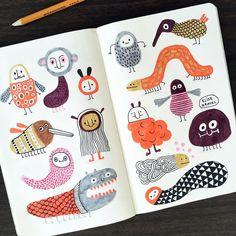 Creatures of the day. #sketchbook #doodleoftheday #watercolor