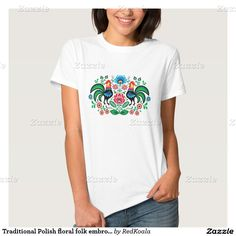 Traditional Polish floral folk embroidery pattern T-shirts