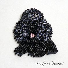 Tiny BLACK beaded MINIATURE POODLE pin pendant by thelonebeader, $95.00