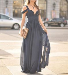 2016 Simple A-Line Chiffon Long Prom Dress Gray Off Shoulder Long Evening Dresses