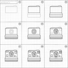How to draw a polaroid camera.