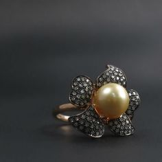 Golden Pearl and Pave Diamond Flower Ring