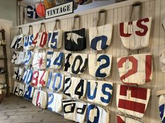 We have 18 stores up and down the northeast. Our Vintage Tote Wall is a staple in all of our stores. Unique one-of-a-kind totes with true character from their previous life on the water. Sea Bags Maine, Eco Friendly Bags, Tote Bags Handmade, Summer Bags, Vintage Walls, Leather Craft, Home Crafts, Fashion Bags, Sailing