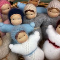 Woody & Purl waldorf pouch dolls made with recycled wool, angora and cashmere sweaters.