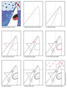 How to Draw a Shark · Art Projects for Kids Shark Head Drawing tutorial. PDF tutorial available. Art Drawings For Kids, Drawing For Kids, Easy Drawings, Art For Kids, Drawing Ideas, Shark Drawing Easy, Panda Drawing, Unicorn Drawing, Drawing Tutorials For Kids