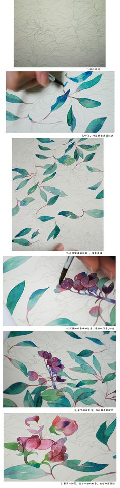 Watercolor flowers step FIG -candy Tian _ watercolor illustration step tutorial _ the original decorative painting graffiti illustration kingdom