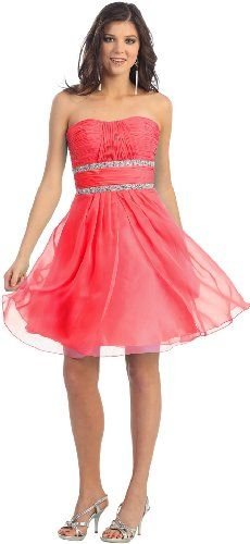 Strapless Chiffon Prom Short Dress #998 (12, Coral)  - Click image twice for more info - See a larger selection of prom dresses at http://girlsdressgallery.com/product-category/prom-party-dresses/ - woman, girls, junior dresses, girls dresses, teenager, girls fashion, womens fashion, gift ideas, dresses,special occasion dresses , night dresses, party dresses, gown