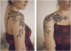 Vintage floral tattoo...love this for inspiration and placement.