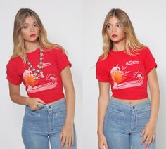 Vintage 70s ST THOMAS T-Shirt Red Tee Shirt by LotusvintageNY
