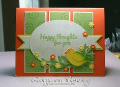 Georgeann Manning: Stampin' Everything – Happy Thoughts Paper Pumpkin Stamp Set Card - 6/24/15.  (SU: Happy Thoughts stamps from Paper Pumpkin.  Punches: Bird Builder/ Tree Builder).