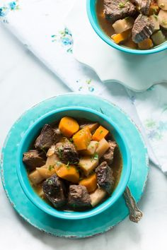 Turnip and Carrot Slow Cooker Beef Stew - This is the perfect time of the year to load yourself up on hearty comfort foods like this delicious and healthy Turnip and Carrot Slow Cooker Beef Stew. We love it!