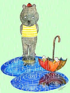 Rainy day friends :) A new illustration for an up-and-coming children's book. check out more at www.zoebarnish.com