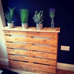 A Herb garden on top of a pallet style homemade radiator cover Palette Furniture, Diy Furniture, Antique Furniture, Outdoor Furniture, Diy Radiator Cover, Contemporary Radiators, Decoration Palette, Palette Diy, Designer Radiator