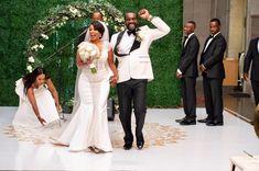 Angela & Jerome on Kleinfeld Bridal Bridesmaid Dresses, Sheath Dresses, Lace Dresses, Wedding Dresses, Lace Wedding, Pnina Tornai, Summer Wedding, Love Story, Cap Sleeves