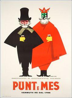 Vintage Italian Posters ~ #illustrator #Italian #posters ~ Punt e Mes Vermuth, Carpano Giuseppe Verdi