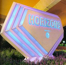 EPCOT Center: Horizons sign at night. I miss Horizons!!