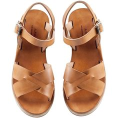 Sandales semi-compensées - beige chic - A.P.C. FEMME ❤ liked on Polyvore featuring shoes, sandals, flats, footwear, beige flat shoes, beige sandals, beige flats, flat pump shoes and flats sandals