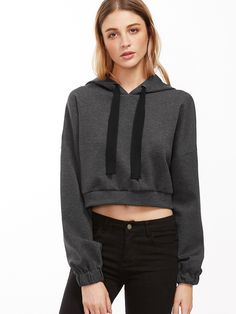 Shop Dark Grey Drop Shoulder Crop Hoodie online. SheIn offers Dark Grey Drop Shoulder Crop Hoodie & more to fit your fashionable needs.