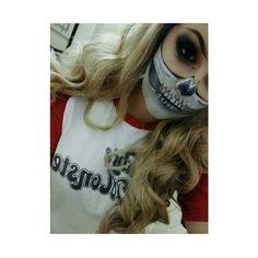 Skull #skullmakeup #smokeyeyes #blonde #wig #makeup #harleyquinn #pin #alternative