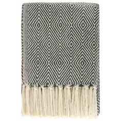 Diamond Throw 100% Cotton Blanket Grey 130cm x 180cm