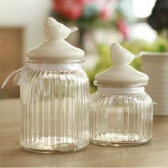 French-style Ceramic Bird Glass Jar