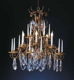 """""""Luis"""" chandelier. Wrought iron with french gold finish and Bohemian crystals, by effebiweb.com"""