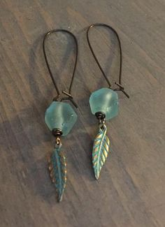 Bronze Earrings with African sea glass