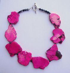 Hot Pink Turquoise Necklace by PolishedPlum on Etsy, $40.00