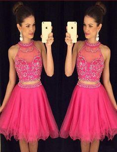 Modern Jewel A-line Beading Two Piece Fuchsia Short Homecoming Dress