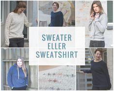 """SWEATER ELLER SWEATSHIRT  Også i denne udgave af Sysiden, arbejder vi med basistøj. Vi byder på sweatshirts eller sweatere i flere grundversioner.  Og før du tænker """"Jeg går ikke i sweatshirts"""", så hør lige her: Din sweaters udtryk afhænger helt af, hvilket stof du vælger at sy den i. De modeller vi har til dig i dette tema, kan sys i f.eks. både sweaterstrik, isoli, ponte og strækvelour – og udtrykket er helt forskelligt. Denim Button Up, Button Up Shirts, Sweatshirts, Coat, Fashion, Moda, Sewing Coat, Fashion Styles, Trainers"""