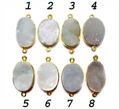 24 kt Gold Plated Druzy Connectors   White colour by finegemstone, $13.00