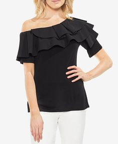 7015454e93386a Vince Camuto Ruffled Off-The-Shoulder Top Women - Tops - Macy s