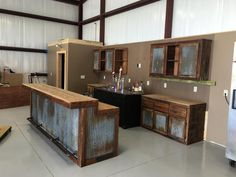 backyard remodel Rustic Barnwood Bar with barn tin -Dimensions - Bars are 36 tall in the back (working/serving area), 42 in the front (seating/drinking area).Bar Lengths will vary dep Barn Tin, Barn Wood, Metal Building Homes, Building A House, Building Exterior, Casas Containers, Man Cave Home Bar, Man Cave Shed, Man Cave With Bar