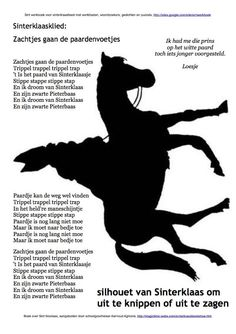 Silhouet van #Sinterklaas op zijn paard #Amerigo om uit te knippen of uit te zagen met #figuurzaag