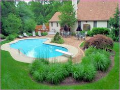 Swimming pool builders can help you from beginning to finish during the building procedure. It's a fact that inground pools can be immensely costly and are normally in the backyard of a big a pricey residence. It's exciting to have your own pool. Landscaping Around Pool, Swimming Pool Landscaping, Swimming Pool Designs, Backyard Landscaping, Landscaping Ideas, Backyard Ideas, Backyard Pools, Landscaping Software, Garden Ideas