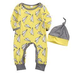 2PCS Newborn Baby Boy Girl Warm Autumn Romper Airplane Print Long Sleeve Cotton Yellow Jumpsuit +Hat Outfit Suit #Affiliate