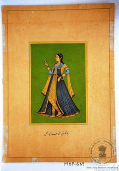 Bhagmati lover of Quli Qutub Shah Indian Traditional Paintings, Traditional Art, Islamic Paintings, Indian Paintings, Indiana, Portrait Art, Portraits, Oriental Flowers, History Of India