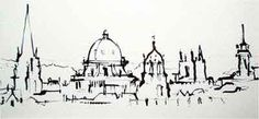 Ink drawing by James Jackman, Oxford Skyline