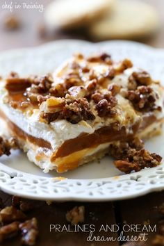 Pralines and Cream Dream Dessert from chef-in-training.com …This dessert is so easy to make and the flavor is amazing! It really is the perfect fall dessert!