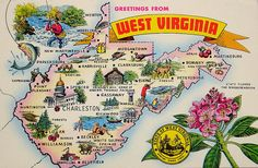 Greetings From West Virginia State Map Vintage Postcard Vintage Maps, Vintage Postcards, Travel Maps, Travel Posters, Maps Posters, Map Of West Virginia, West Va, Pictorial Maps, Photo Banner