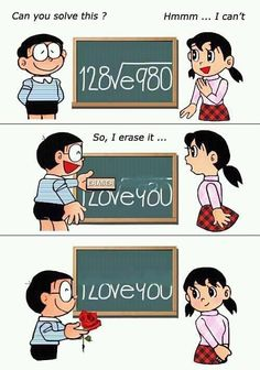 "Comics version of 'How to say ""I Love You"" in Math' (https://plus.google.com/103408950223186745572/posts/GBXzH5RzRjZ or http://nearwen.com/2012/02/la-formula-del-amor/ or https://plus.google.com/photos/110029189218082044573/albums/posts/5708943899428015682 or http://taemingoon.tumblr.com/post/17600014855/how-to-say-i-love-you-with-math)."