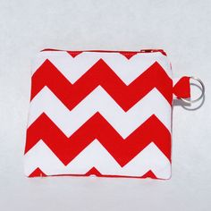 Change Purse Wallet Zipper Fabric Red White by mylifeinfabric, $13.00