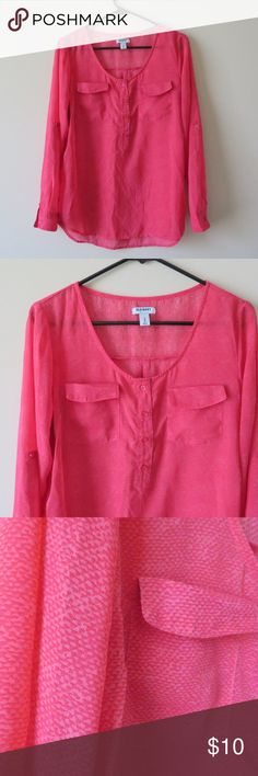 OLD NAVY LONG SLEEVE PINK PRINTED SHEER BLOUSE TOP ID: AC116  hey there! thank you for taking your time to look at my closet. if you find anything that you like,  feel free to make a Reasonable Offer! thank you!   Pre-Owned   Measurements Flat Lay in INCHES: Armpit to Armpit: 20 Sleeve Length:23 Length:26.5 Old Navy Tops Blouses